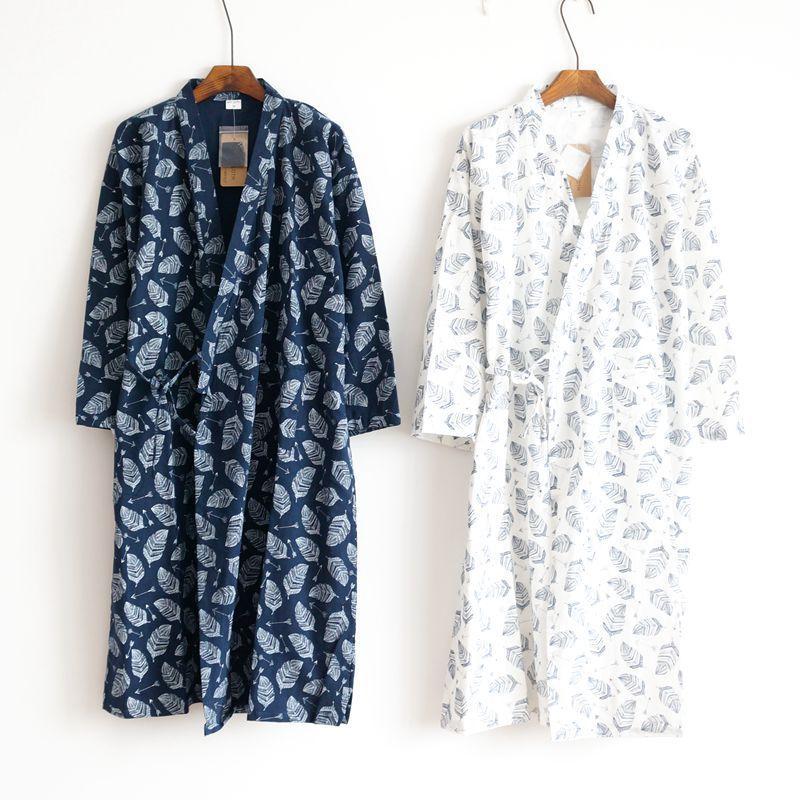 Bông vải áo ngủ nam mùa hè chín tay áo phần mỏng yukata cotton đồ ngủ một mảnh phù hợp với kimono dịch vụ nhà cardigan kích thước lớn