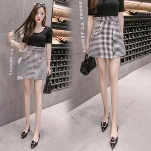 【实拍】6319# 2018夏季新款韩版皮带扣短裙修身显瘦半身裙