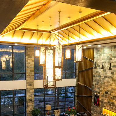 鸟笼灯中式落地灯店铺树枝图案组合装饰竹吊灯
