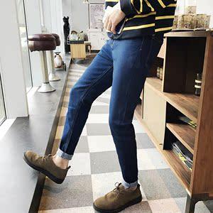 春季新款牛仔裤男装小脚裤子韩版修身型纯蓝色牛仔长裤学生装潮裤
