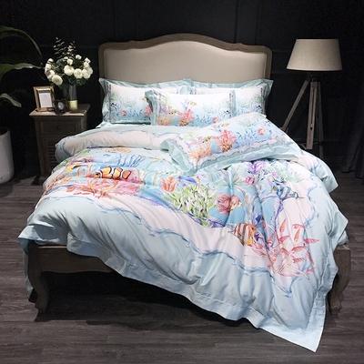 高端100支长绒棉贡缎四件套纯棉奢华全棉印花海底世界床上用品