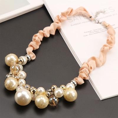 韩国奢华水钻珍珠项链女短款锁骨链欧美时尚夸张毛衣链女配饰挂件