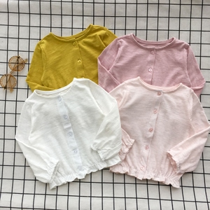 Mùa hè cô gái hoang dã điều hòa không khí áo siêu mỏng phần bông cotton nữ bé ren bông cardigan coat sun bảo vệ quần áo