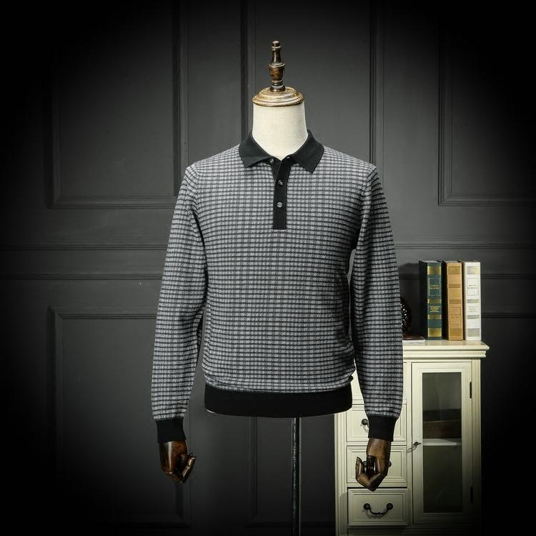 Trong nước duy nhất mùa xuân và mùa thu áo len nam kinh doanh bình thường hoang dã ve áo áo len đơn giản dài tay áo len cha