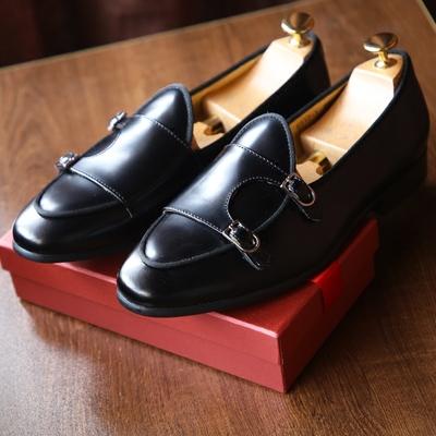鹿三先生男士欧美街拍亮皮黑色僧侣鞋皮鞋日常时尚一脚蹬休闲鞋