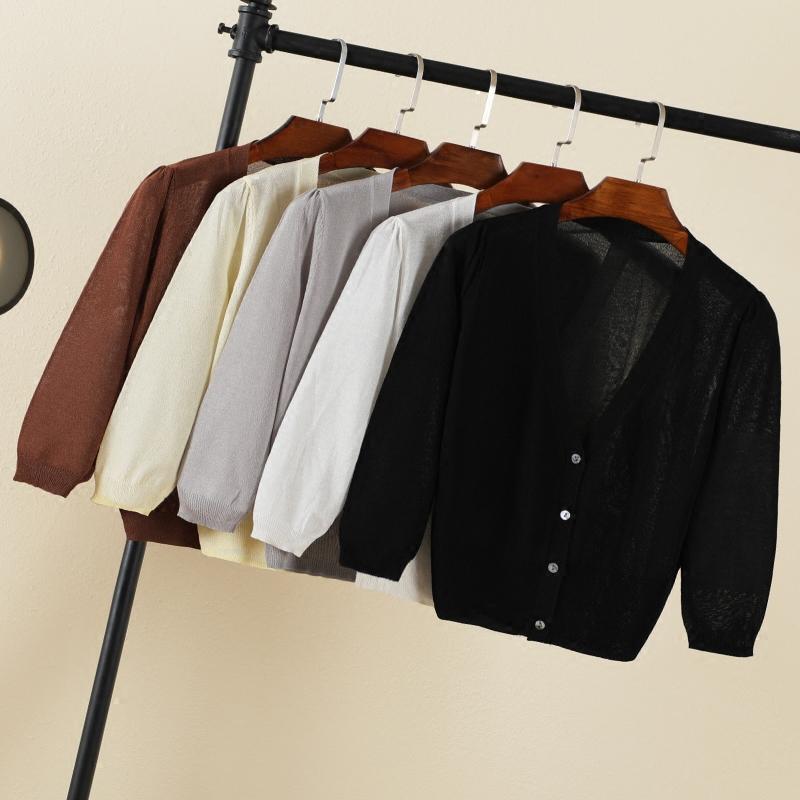 Băng lụa phần mỏng kem chống nắng quần áo điều hòa không khí áo gió lười gió nhỏ vest áo len đan cardigan áo khoác mùa hè ngắn