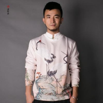 [古 阿 新] Trung Quốc phong cách mùa xuân retro nam áo len áo len dài tay áo đàn hồi lỏng kích thước lớn quần áo của nam giới Áo len