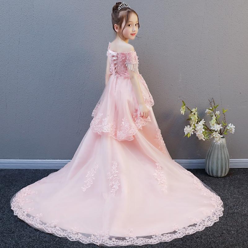 Trẻ em đám cưới poncho sợi trailing siêu dài hoa cô gái đàn piano trang phục cô gái sinh nhật buổi tối ăn mặc công chúa váy cao quý