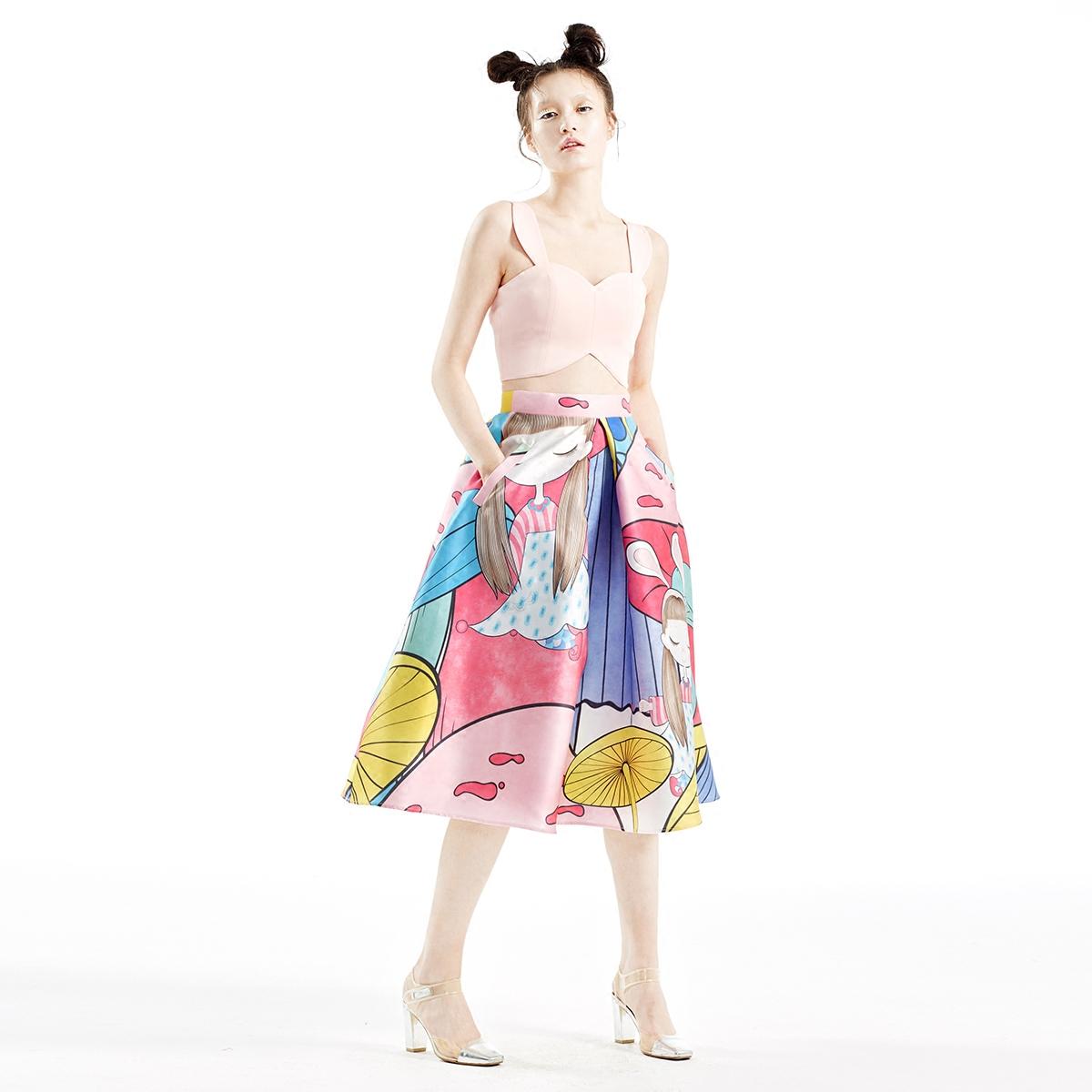 SUNGDO GIN春夏白日梦粉色冰激凌色超短款露脐圆弧短款时髦背心