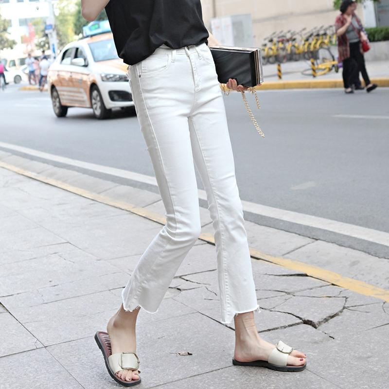 白色牛仔裤女春秋2018新款高腰弹力黑色流苏韩版修身九分裤喇叭裤