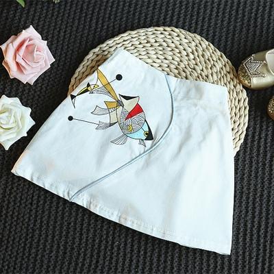 夏装新款女童纯色半身裙刺绣小金鱼气质包臀A字短裙百搭