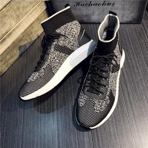 2018 mùa hè của nam giới vớ giày thoáng khí Hàn Quốc phiên bản của dày dưới thể thao cao giày bay dệt một bàn đạp tăng giày xu hướng