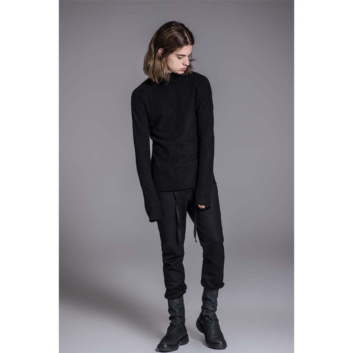 艺示单原创设计师品牌 立领T恤男长袖 修身 时尚羊毛插肩袖打底衫