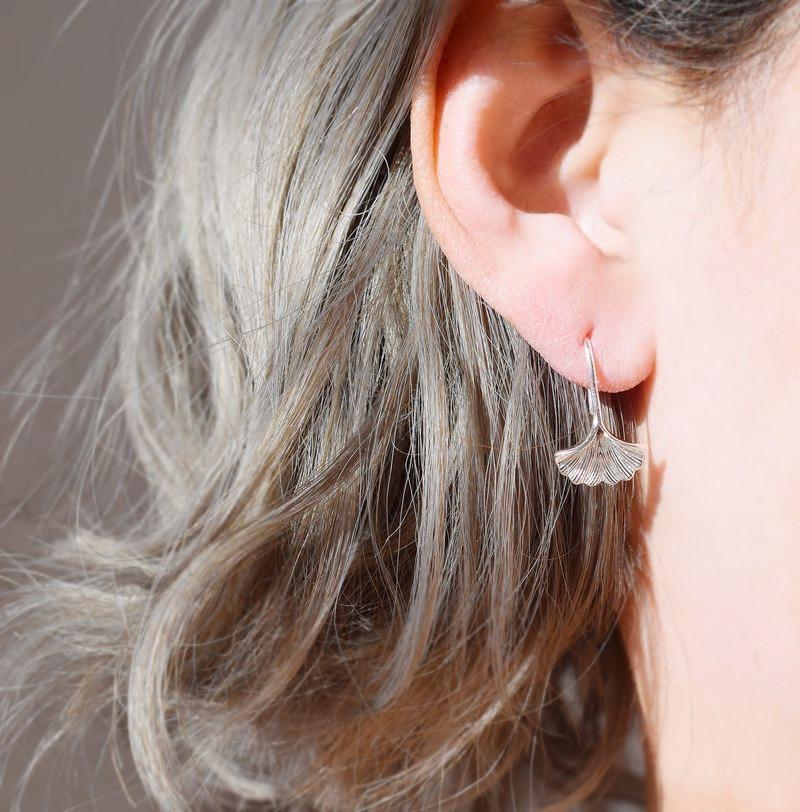 新款银杏叶耳环女 纯银小清新精致一款两戴森系超仙925银耳饰