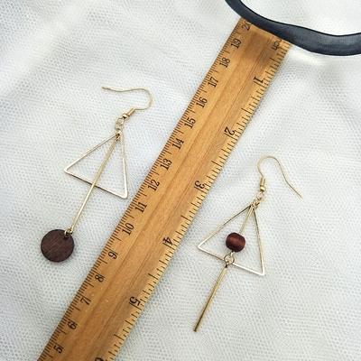 原创设计几何三角形复古风木质不对称女耳环无耳洞耳夹耳饰