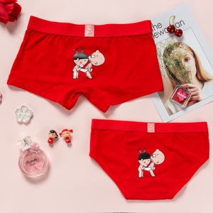 Các cặp vợ chồng đồ lót cotton phù hợp với lớn màu đỏ năm nay đồ lót kết hôn của nam giới boxers của phụ nữ tam giác phim hoạt hình dễ thương
