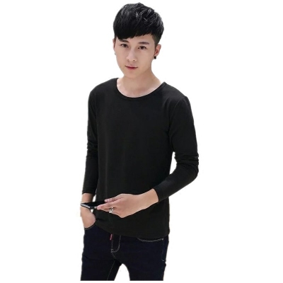 Phương thức mỏng nam dài tay t- shirt bông vòng cổ mỏng đáy áo màu rắn thanh niên mùa thu quần áo t- áo sơ mi thủy triều áo thun nam trơn Áo phông dài