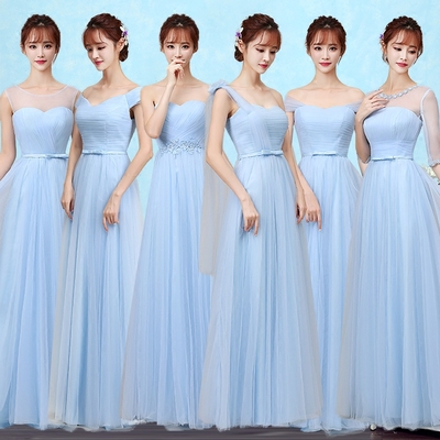 42agent Bridesmaid dress long section 2018 new bridesmaid dress sisters skirt bride married thin hosted banquet dress - Taobao