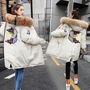 【抖音同款】冬装韩版刺绣派克羽绒棉服