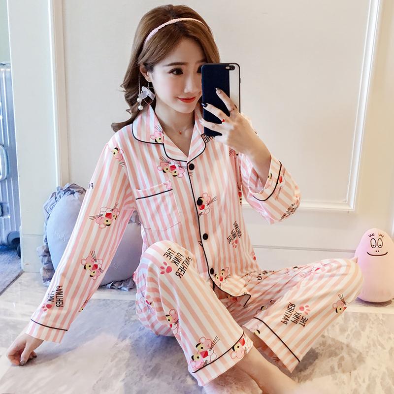 韩国粉红豹卡通睡衣女春秋季可爱清新学生长袖纯棉开衫宽松家居服