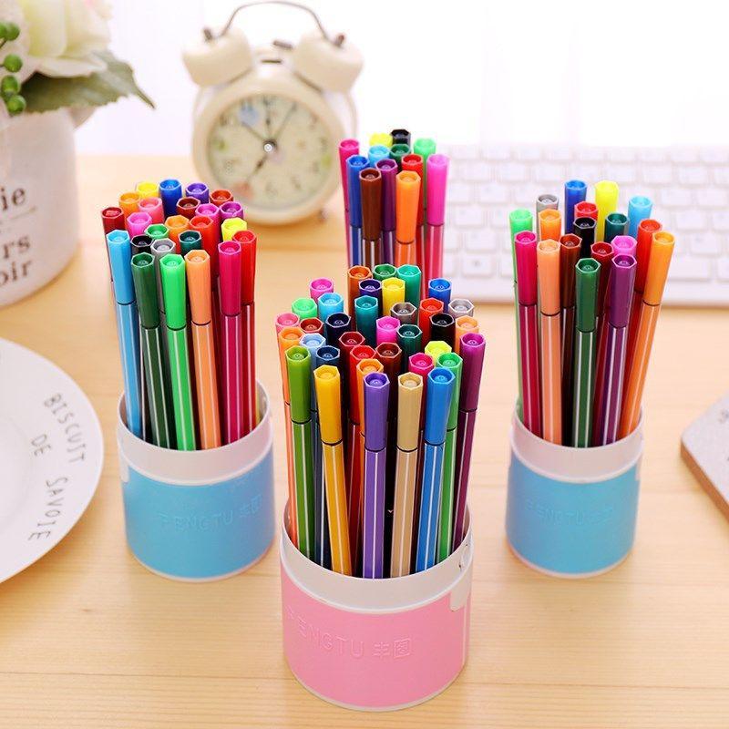 Bộ tranh bút màu nước trẻ em có thể rửa sạch cho học sinh tiểu học và trung học mẫu giáo vẽ cọ vẽ đồ dùng mỹ thuật 12  48 màu - Vẽ nhà cung cấp