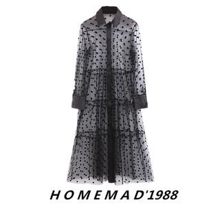 1988 женщины  19 новый европейско-американский манер мягкий тактильные впечатления сращивание в горошек A шрифт стиль в горошек шелк чистый платье