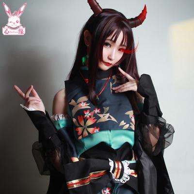 taobao agent Spot Heart Margin cosplay Onmyoji COS clothing Vampire COS clothing Purple Qiu Bi dyed wig horn earrings