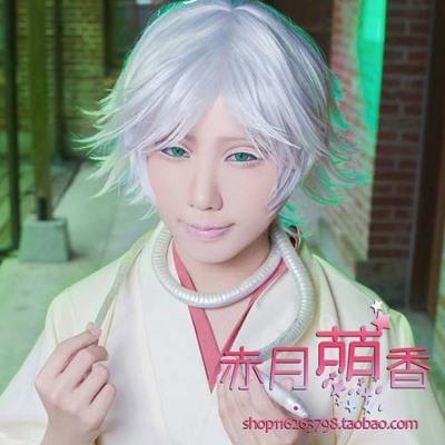 taobao agent Meng Xiangjia cosplay wig vitality girl Yumoto God Ruixi K Izonasha silver-white reverse curled short hair