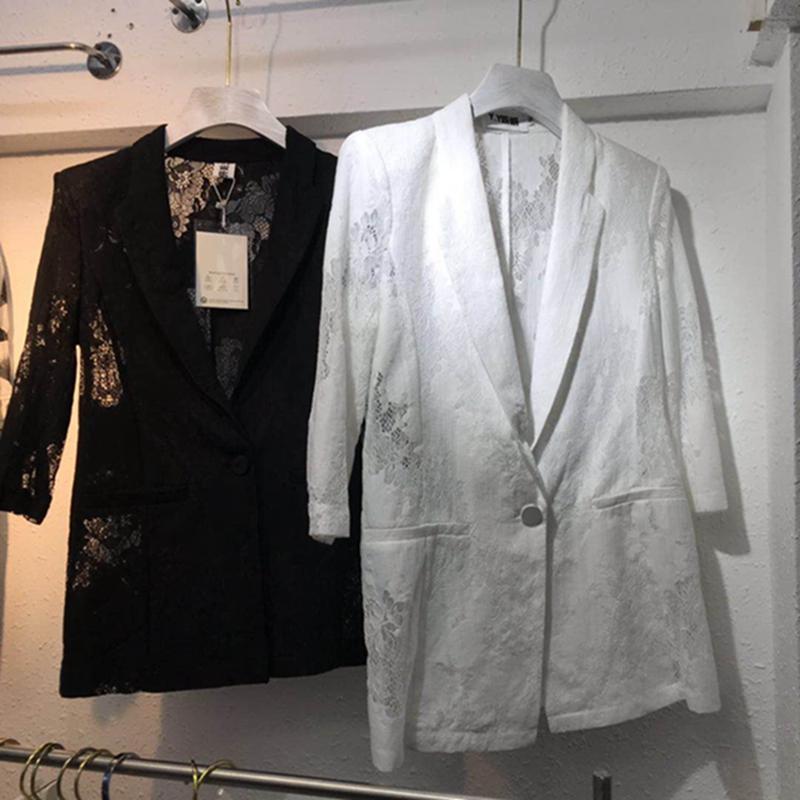 Европейские станции 2019 новая весна и лето мода дикий кружево пальто обтягивающий стройнящий малявка пиджак короткий пальто женщина 591758848688