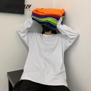 INS хлопок 21 корея ins ретро на основе твердый осень свитер поездка мужской и женщины длинный рукав T футболки bf ветер