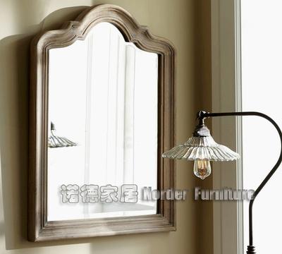 出口欧美橡木复古做旧浴室镜实木弓形化妆镜壁