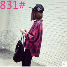 韩版复古格子宽松显瘦百搭长袖衬衫外套女学生休闲衬衣潮