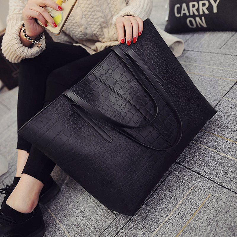 2017 autumn new women's bag trend europe and the united states crocodile pattern shoulder bag fashion casual handbag simple bag