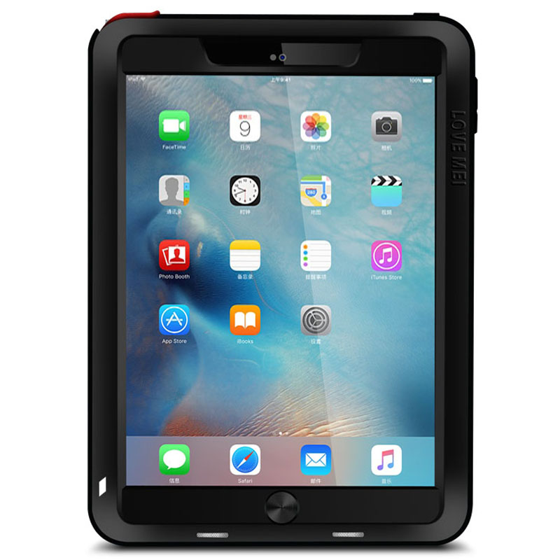 LOVE MEI Powerful Water Resistant Shockproof Dust/Dirt/Snow Proof Aluminum Metal Outdoor Gorilla Glass Heavy Duty Case Cover for Apple iPad Pro 9.7-inch