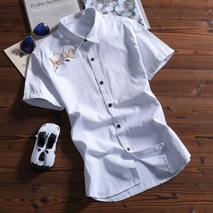夏季新款商务男士衬衫男短袖修身韩版青少年衬衣服大码花寸衫056