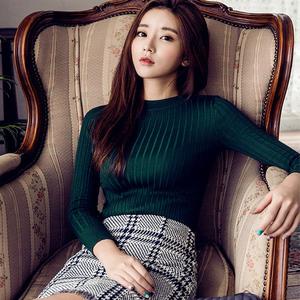 秋冬半高领针织衫修身显瘦打底衫韩版短款长袖紧身毛衣女外套339