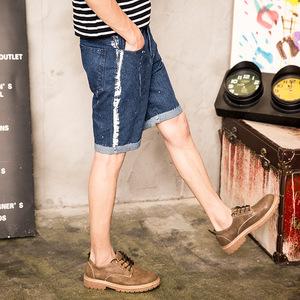 男士牛仔短裤夏季薄款直筒五分裤男5分休闲马裤夏天破洞大码中裤