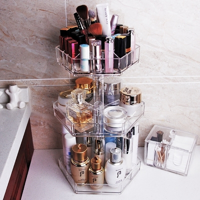 Transparent Acrylic Cosmetic Storage Box Dressing Table Shelf  360 ° Rotation