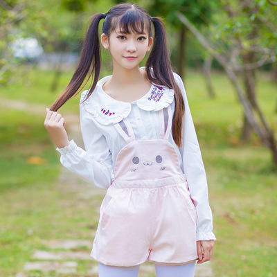 taobao agent Free shipping cute bunny bear suspenders pumpkin pants short skirt Japanese soft girl fresh college exciting summer spring man exhibition