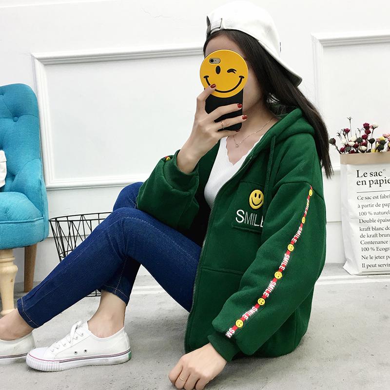 实拍外套女冬装2017新款韩版宽松加绒加厚原宿卫衣学生bf ulzzang