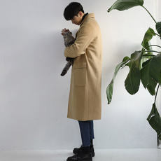 2018春季新款潮百搭简约男士毛呢大衣韩版中长款日系妮子外套潮