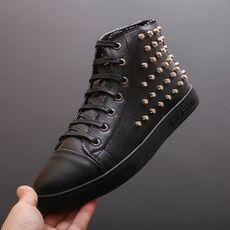 男鞋欧美时尚金色铆钉鞋系带高帮板鞋男士休闲短靴发型师个性潮鞋
