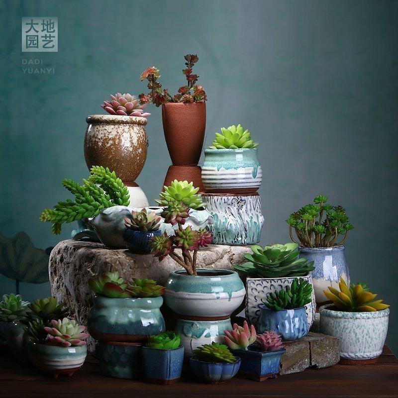 粗陶老桩多肉植物花盆花器-多肉花盆网