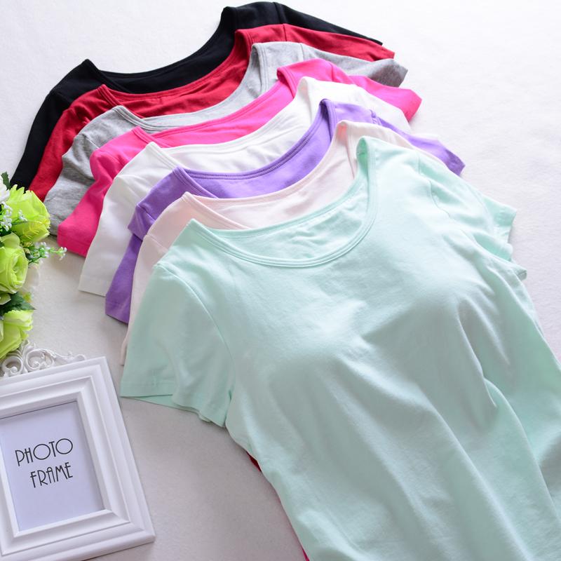 Yoga nhà dịch vụ đồ ngủ tops của phụ nữ bông vành đai ngực pad ngắn tay T-Shirt nửa tay áo ngực cup một đáy mùa hè