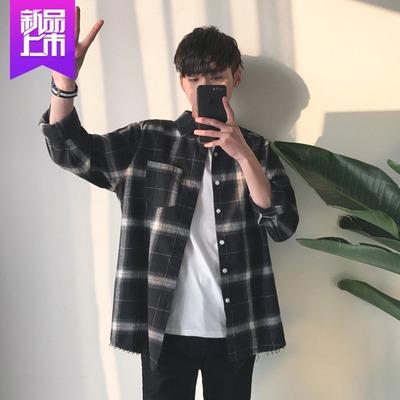 Kẻ sọc áo sơ mi nam dài tay áo Hàn Quốc phiên bản của xu hướng của mùa xuân và mùa thu nam áo sơ mi thanh niên văn học cổng gió sinh viên áo khoác giản dị