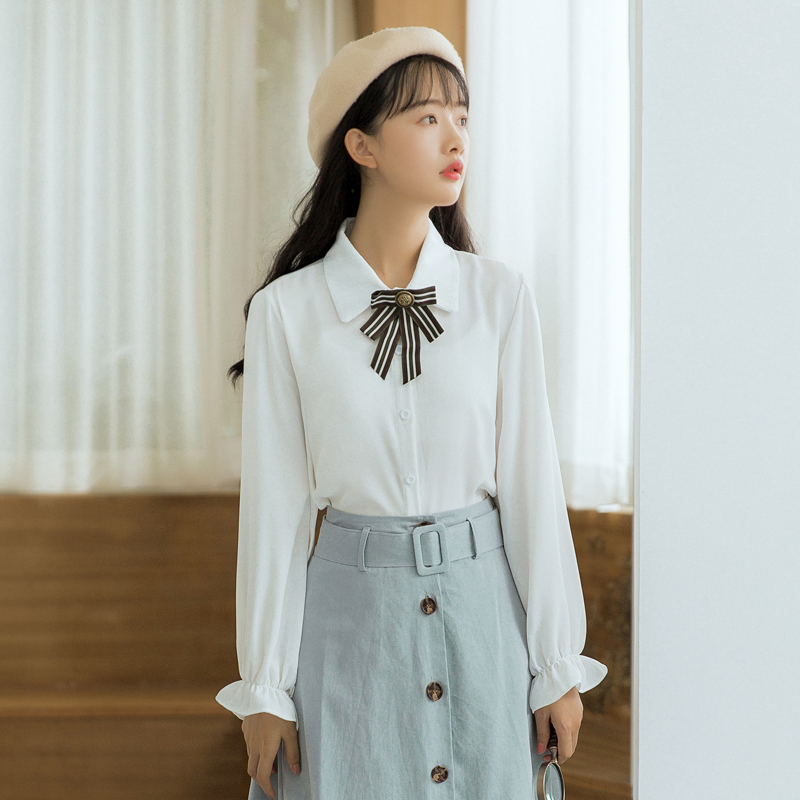 【6230#】现货秋季开学院风蝴蝶结长袖衬衫女