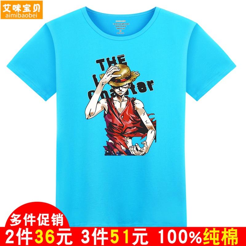 Quần áo trẻ em cướp biển Wang Lufei lớn trẻ em 2018 mùa hè mới phim hoạt hình in bông T-Shirt ngắn tay áo sơ mi trai