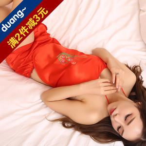 Tạp dề phụ nữ sexy người lớn bộ cung điện tạp dề dây đai đồ lót túi màu đỏ gió quốc gia cổ điển cám dỗ đồ ngủ