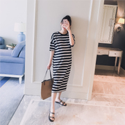 Thai sản mặc 2018 mùa hè mới Hàn Quốc phiên bản của vòng cổ sọc thời trang giản dị phụ nữ mang thai dài ngắn tay T-Shirt dress