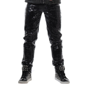 Gốc quần âu rock ma thuật Slim punk quần thanh hộp đêm trang phục DJ nam ca sĩ sequins quần da